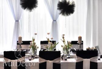 dekoracje stołu czarno - białe - szczecinek